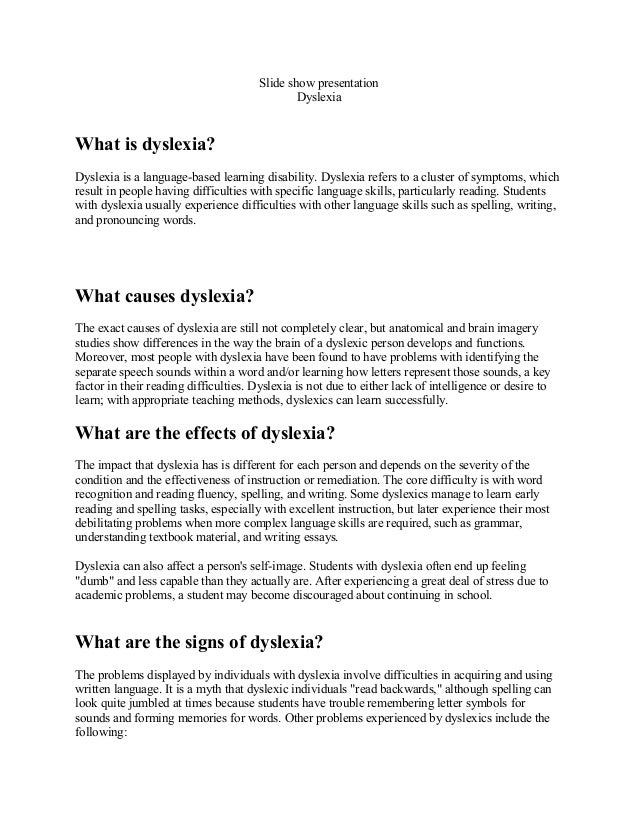 Topic: Thesis Dyslexia Research Paper – 350208 - Sweet