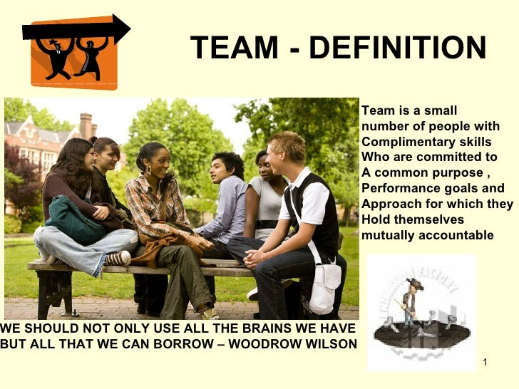 TEAM - DEFINITION Team is a small  number of people with Complimentary skills Who are committed to A common purpose ,  Per...