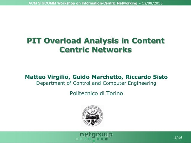 ACM SIGCOMM Workshop on Information-Centric Networking – 12/08/2013 1/16 PIT Overload Analysis in Content Centric Networks...