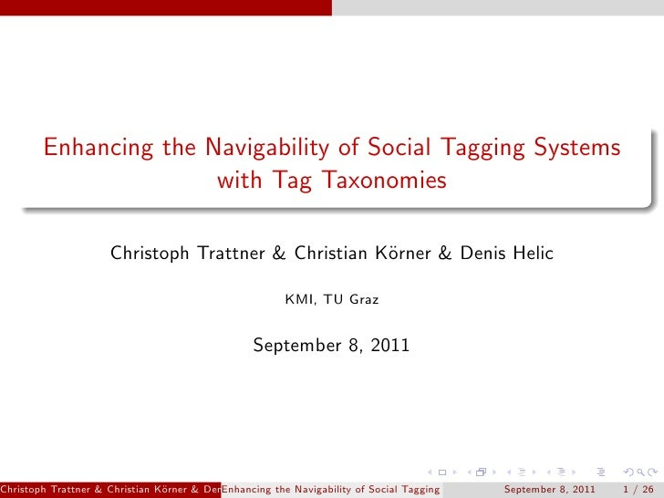 Enhancing the Navigability of Social Tagging Systems                       with Tag Taxonomies                     Christo...