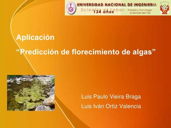 """Aplicación""""Predicción de florecimiento de algas""""<br />Luis Paulo Vieira Braga<br />Luis Iván Ortiz Valencia<br />"""