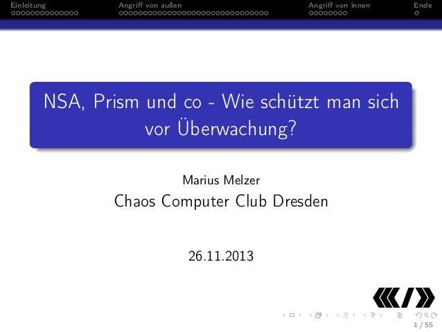 Einleitung  Angriff von außen  Angriff von innen  Ende  NSA, Prism und co - Wie schützt man sich vor Überwachung? Marius Mel...