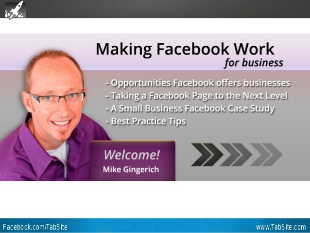 Webinar: July 27, 2011 Facebook.com/TabSite www.TabSite.com Webinar Mike Gingerich TabSite Co-founder Slidedeck from prese...