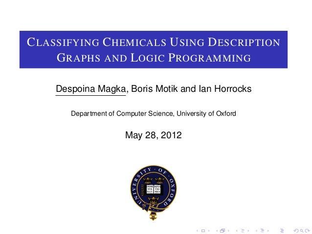 C LASSIFYING C HEMICALS U SING D ESCRIPTION     G RAPHS AND L OGIC P ROGRAMMING    Despoina Magka, Boris Motik and Ian Hor...
