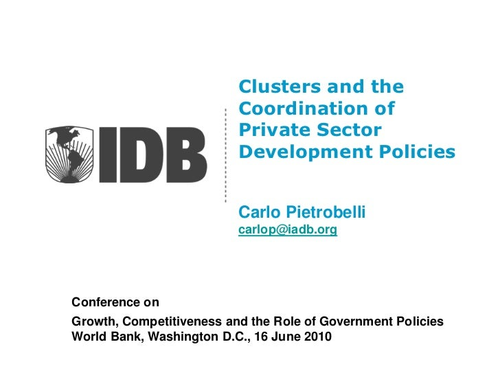 Clusters and the                          Coordination of                          Private Sector                         ...