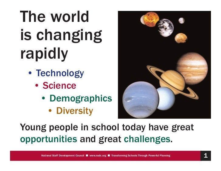 The worldis changingrapidly • Technology  • Science    • Demographics     • DiversityYoung people in school today have gre...