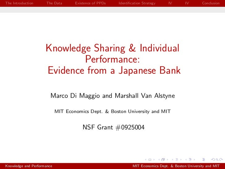 Knowledge Sharing and Individual Performance