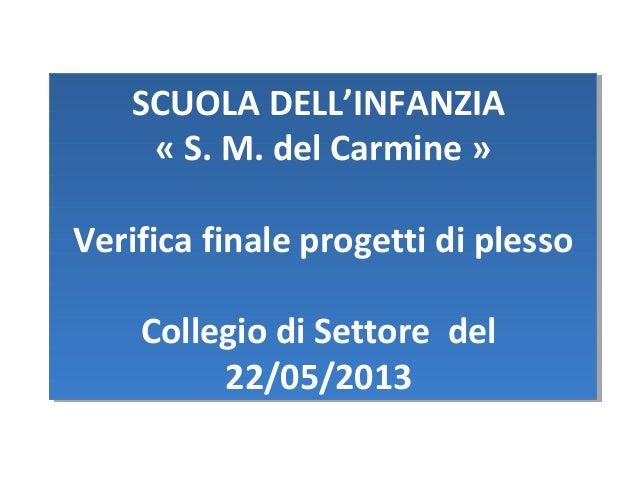 SCUOLA DELL'INFANZIA « S. M. del Carmine » Verifica finale progetti di plesso Collegio di Settore del 22/05/2013 SCUOLA DE...