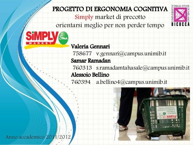 Slides di presentazione del progetto di ergonomia, Supermercato Simply