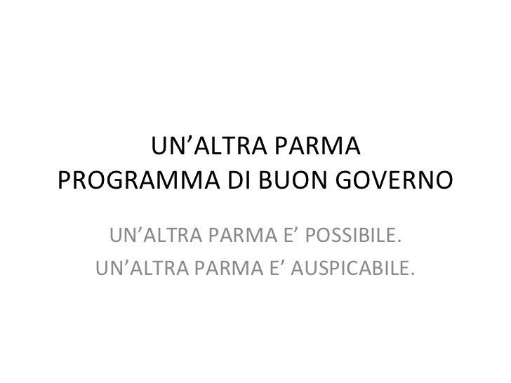 Programma di buon governo