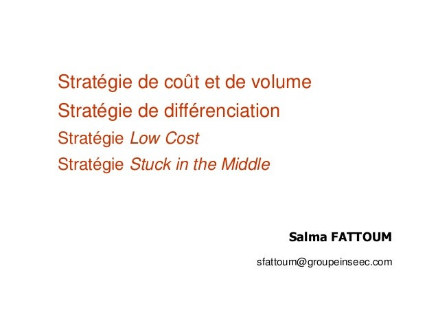 Stratégie de coût et de volume Stratégie de différenciation Stratégie Low Cost Stratégie Stuck in the Middle Salma FATTOUM...