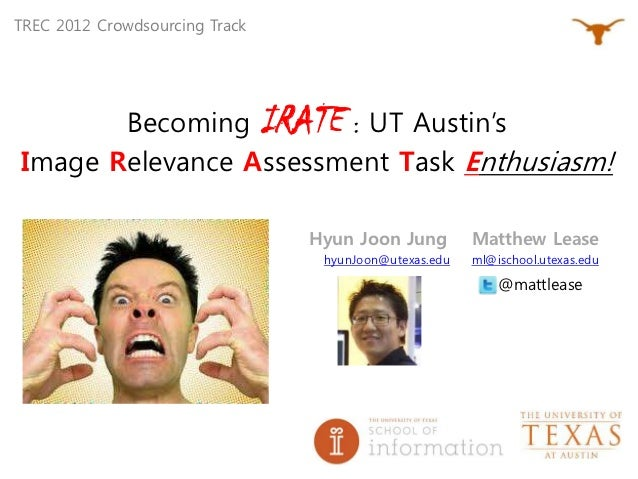 TREC 2012 Crowdsourcing Track       Becoming IRATE : UT Austin'sImage Relevance Assessment Task Enthusiasm!               ...