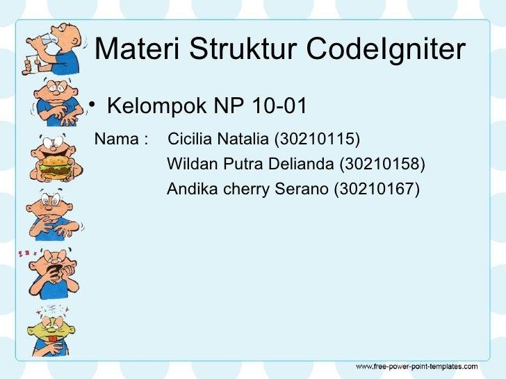 Materi Struktur CodeIgniter• Kelompok NP 10-01Nama :   Cicilia Natalia (30210115)         Wildan Putra Delianda (30210158)...
