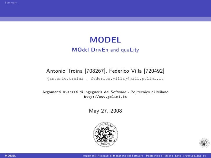 Summary                                         MODEL                           MOdel DrivEn and quaLity               Ant...