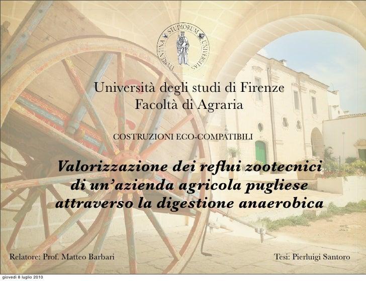 Università degli studi di Firenze                                   Facoltà di Agraria                                COST...