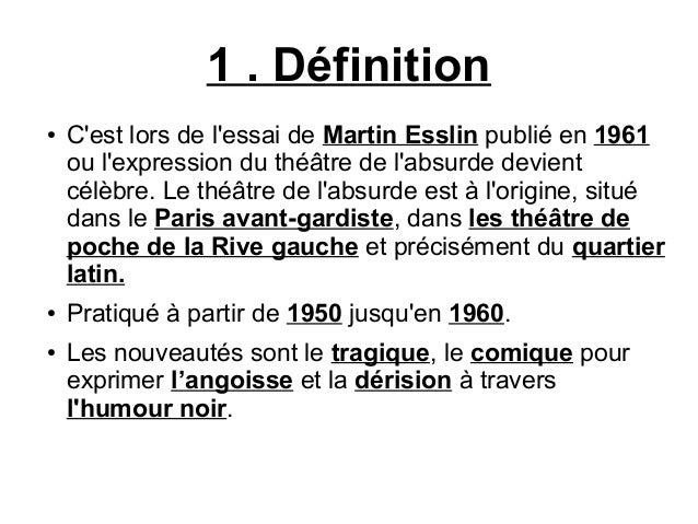 Le th tre de l 39 absurde for Definition de l
