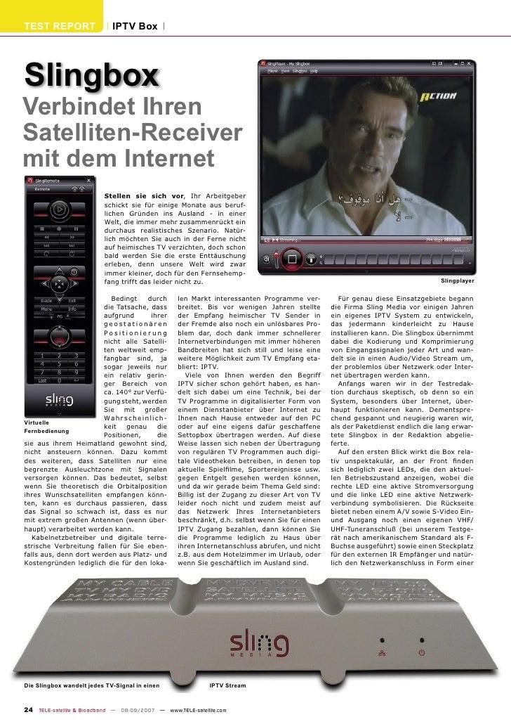 TEST REPORT                     IPTV Box     Slingbox Verbindet Ihren Satelliten-Receiver mit dem Internet                ...