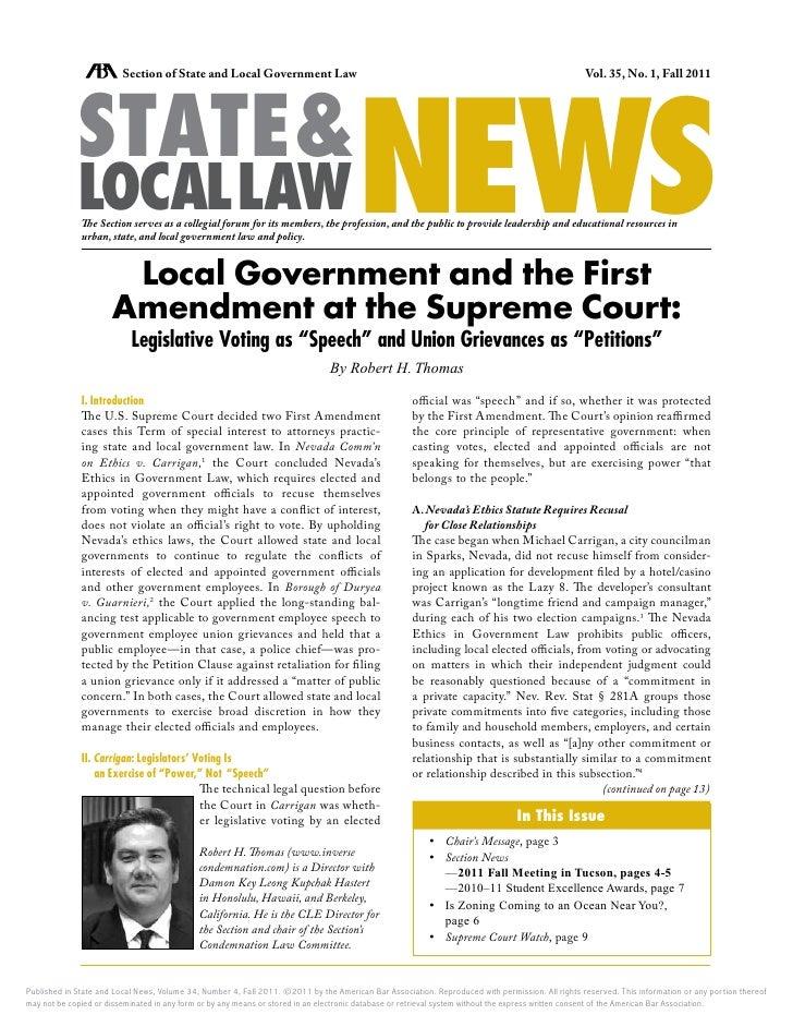 """Local Govt & the 1st Amendment: Legislative Voting as """"Speech"""" & Union Grievances as """"Petitions"""""""