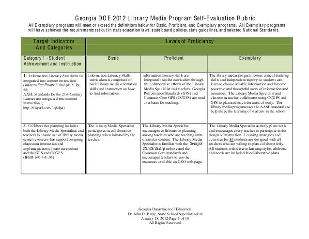 G eorgia D O E 2012 L ibrary M edia Program Self-E valuation Rubric   A ll E xemplary programs will meet or exceed the def...