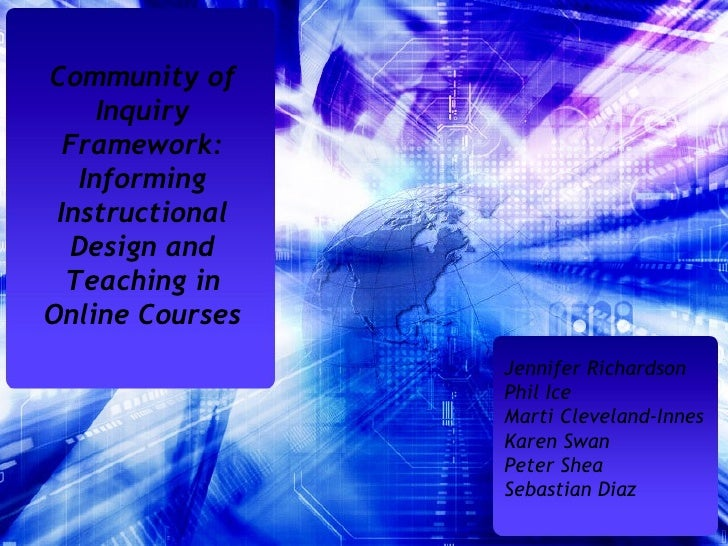 Community of Inquiry Framework: Informing Instructional Design and Teaching in Online Courses Jennifer Richardson Phil Ice...