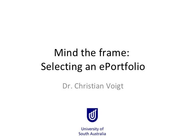 Sloan-C: Selecting an ePortfolio