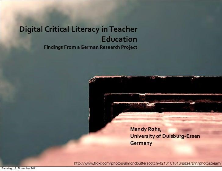 Digital Critical Literacy in Teacher                                                 Education              ...