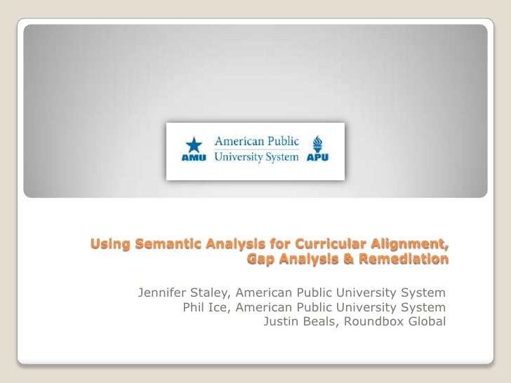 Using Semantic Analysis for Curricular Alignment (Sloan-C Presentation)