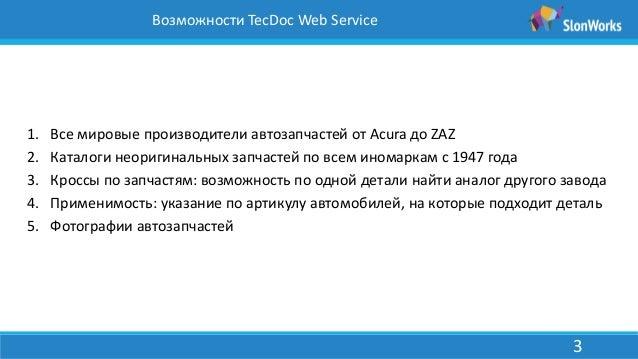 3 Возможности TecDoc Web
