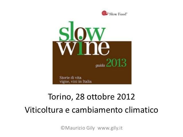 Torino, 28 ottobre 2012Viticoltura e cambiamento climatico         ©Maurizio Gily www.gily.it