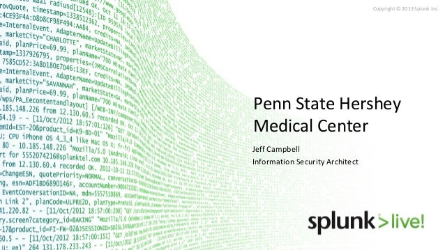 Copyright © 2013 Splunk Inc.  Penn State Hershey Medical Center Jeff Campbell Information Security Architect
