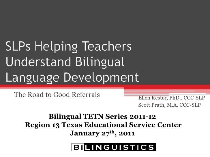 SLPs Helping Teachers Understand Bilingual Language Development