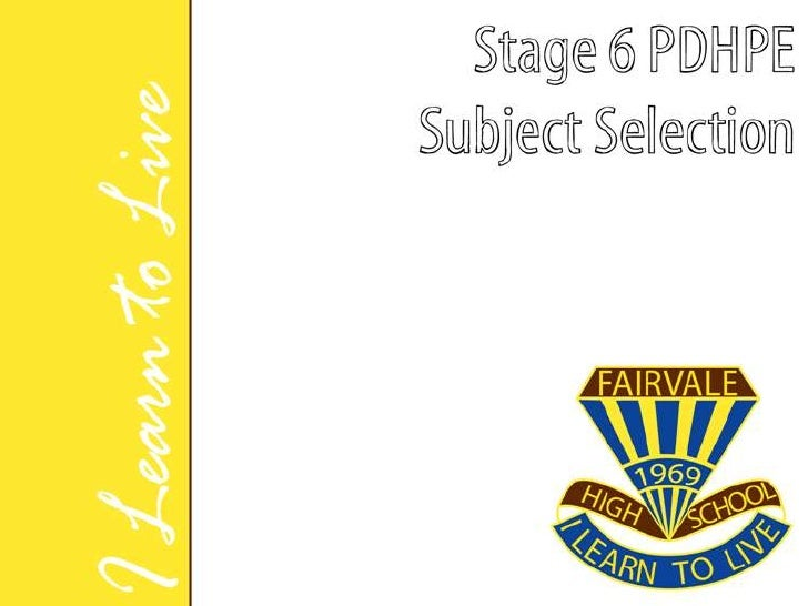 SUBJECTS OFFEREDSport, Lifestyle & Recreation:You can select one of the two SLR courses offered bythe PDHPE faculty:      ...
