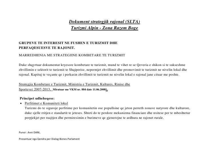 Dokument strategjik rajonal (SLTA)                                         Turizmi Alpin - Zona Razem BogeGRUPEVE TE INTER...