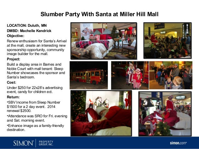 Slumber Party With Santa at Miller Hill Mall LOCATION: Duluth, MN DMBD: Machelle Kendrick Objective: Renew enthusiasm for ...