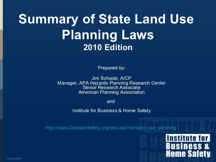 Prepared by: Jim Schwab, AICP Manager, APA Hazards Planning Research Center Senior Research Associate American Planning As...