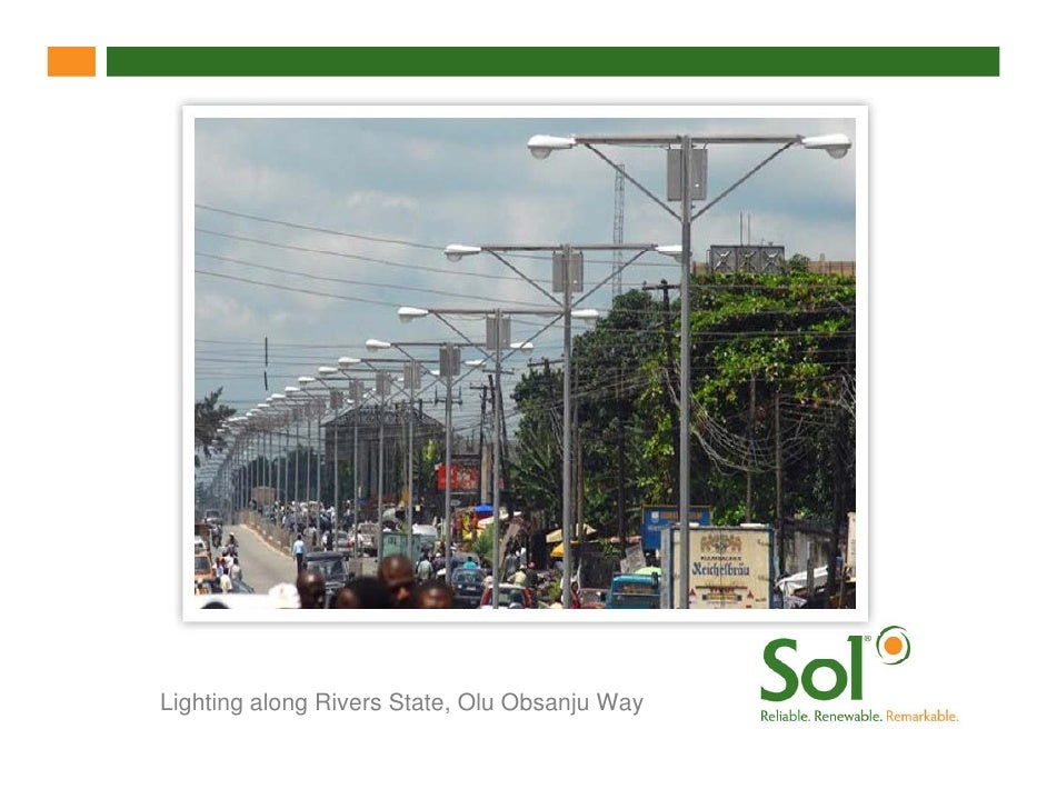 Lighting along Rivers State, Olu Obsanju Way