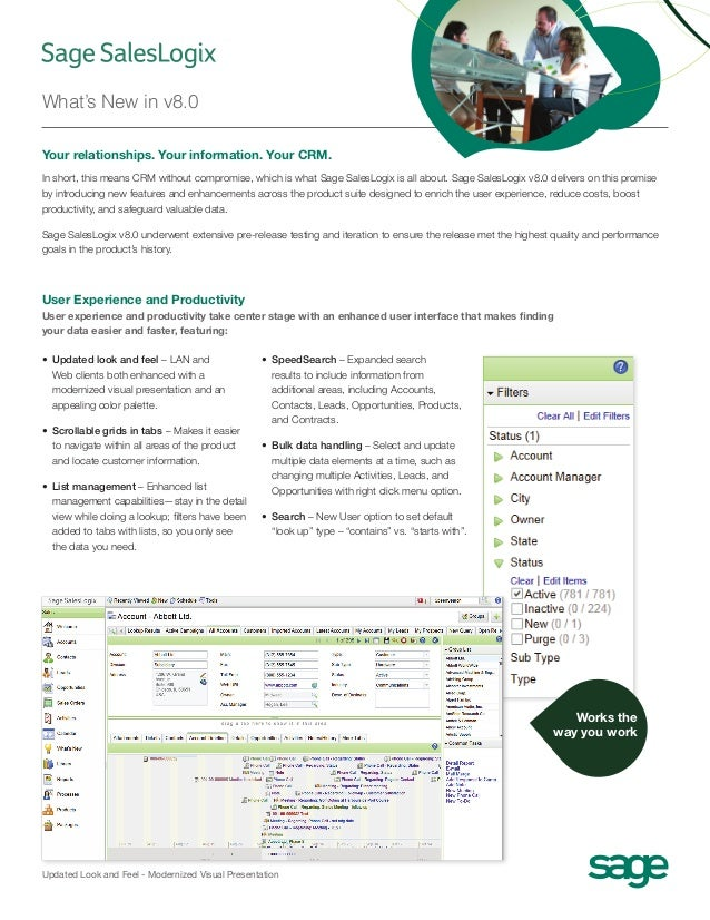 Sage SalesLogix 8 What´s new Datasheet