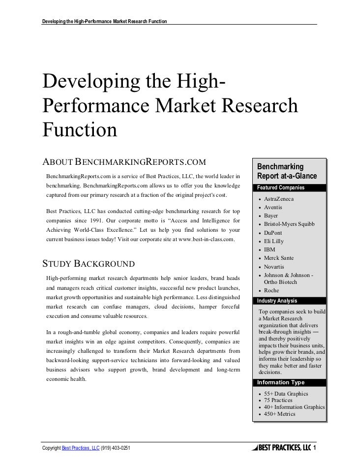 Developing the High-Performance Market Research FunctionDeveloping the High-Performance Market ResearchFunctionABOUT BENCH...