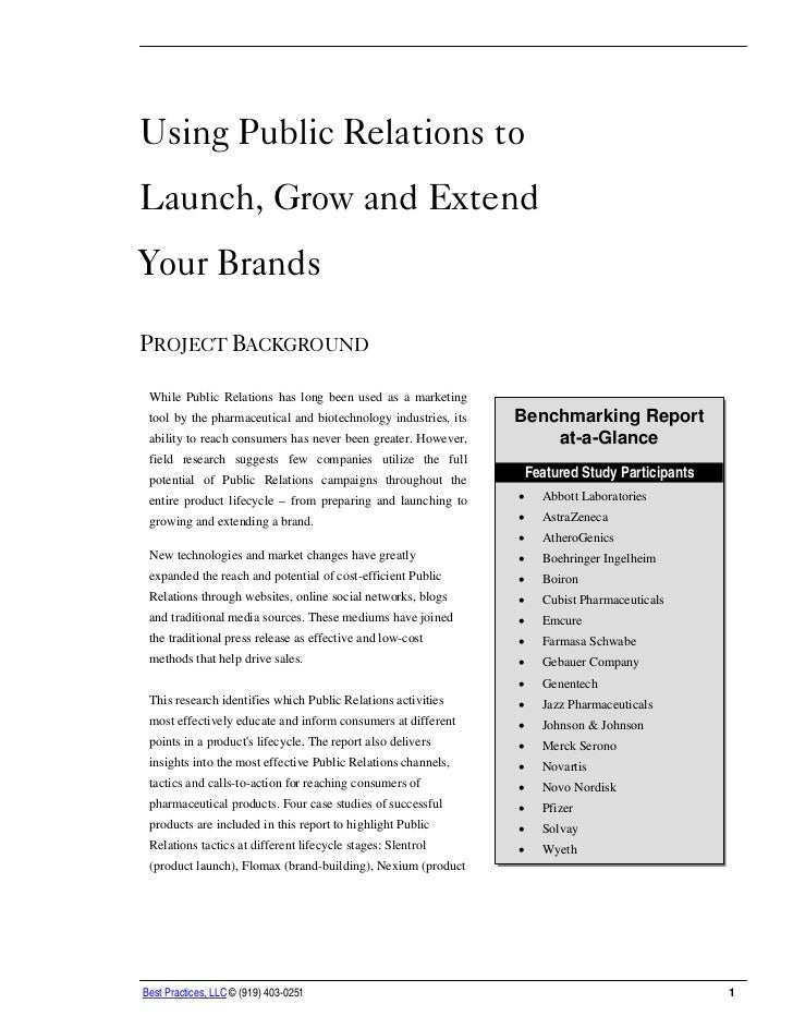 Using Public Relations to Launch, Grow and Extend Your Brands Report Summary