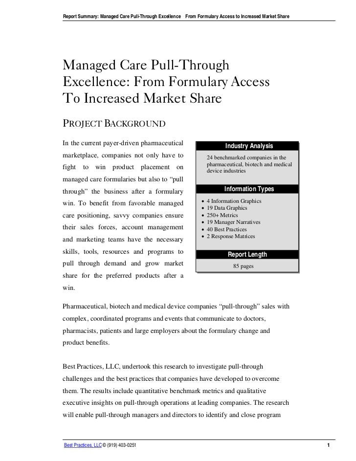 Report Summary: Managed Care Pull-Through Excellence – From Formulary Access to Increased Market ShareManaged Care Pull-Th...
