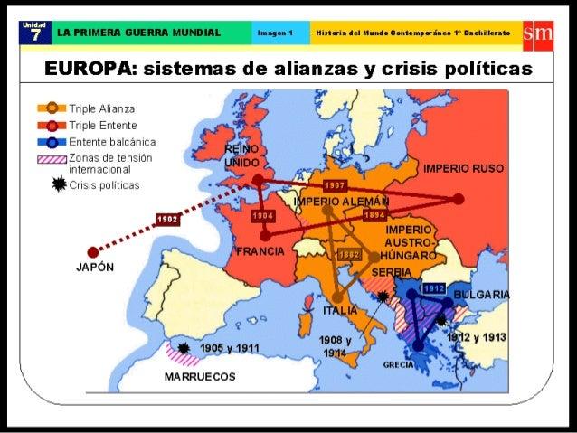 i 5 LA PRIMER! ' GUERRA MUNDIHI.  Imagen 1 Historia lel Mumlo contempuineo 1° Baeltillerato i ii'  A  EUROPA:  sistemas de...