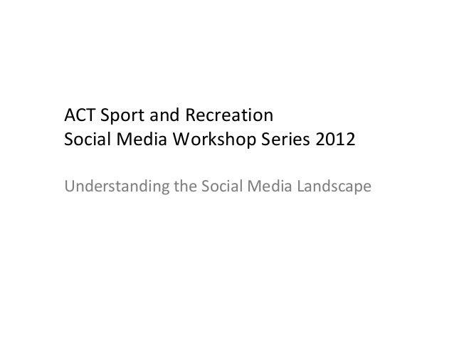 ACT Sport and Recreation Social Media Workshop Series 2012 Understanding the Social Media Landscape