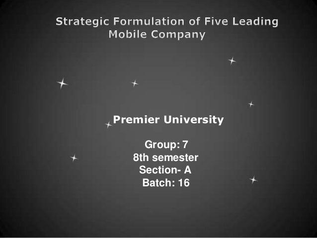 Strategic Formulation of Five Leading Mobile Company
