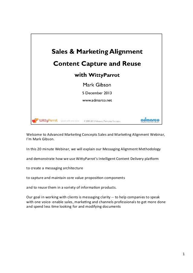 Welcome  to  Advanced  Marke1ng  Concepts  Sales  and  Marke1ng  Alignment  Webinar,   I'm  Mark  ...