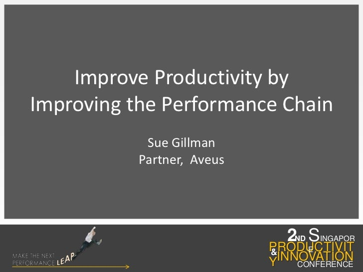 Improve Productivity by <br />Improving the Performance Chain<br />Sue Gillman<br />Partner,  Aveus <br />