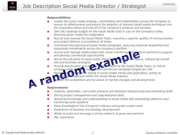 Social media job description 2011
