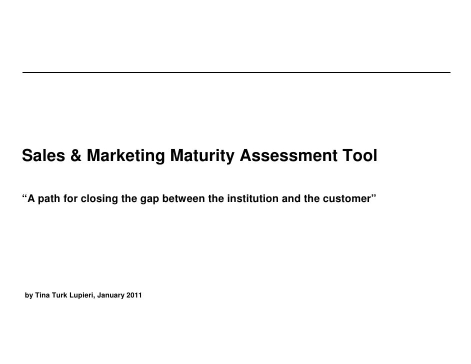"""Sales & Marketing Maturity Assessment Tool  """"A path for closing the gap between the institution and the customer""""     by T..."""
