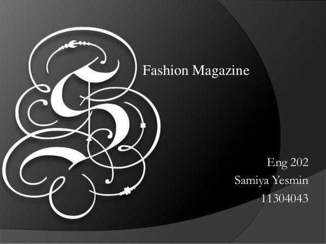 Fashion Magazine Eng 202 Samiya Yesmin 11304043