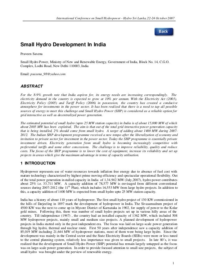 International Conference on Small Hydropower - Hydro Sri Lanka, 22-24 October 2007 1 Small Hydro Development In India Prav...
