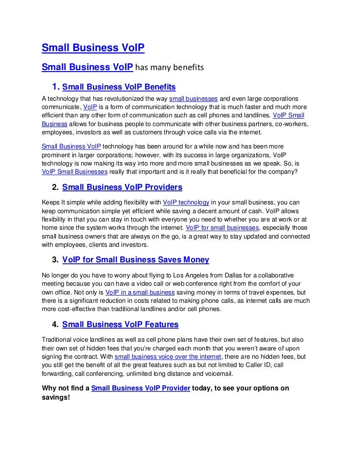 Small Business VoIPSmall Business VoIP has many benefits   1. Small Business VoIP BenefitsA technology that has revolution...